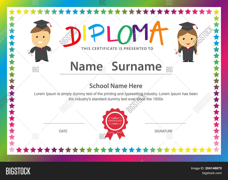 preschool kids elementary school diploma certificate design background template