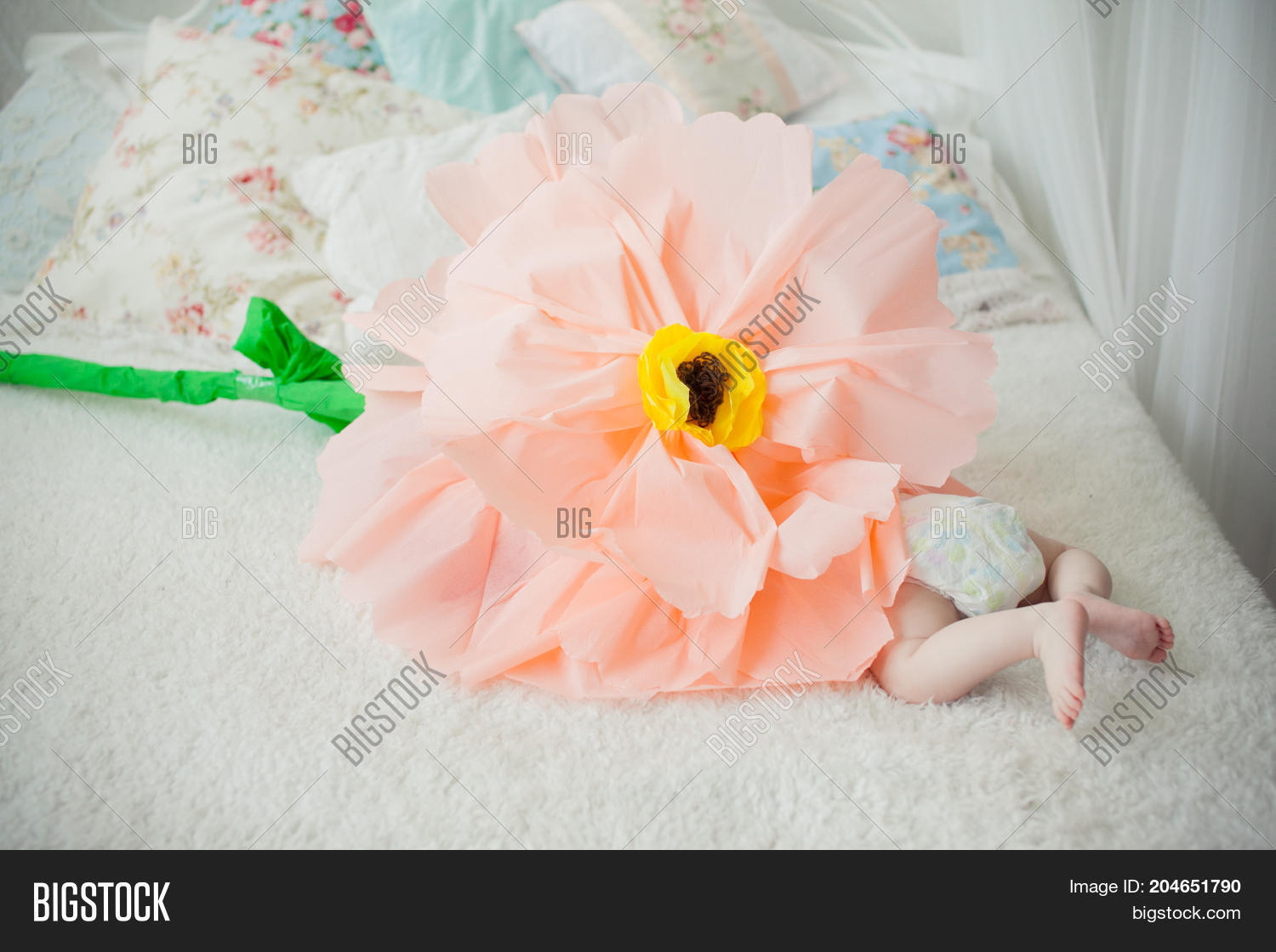 Baby On Bed Playing Image Photo Free Trial Bigstock