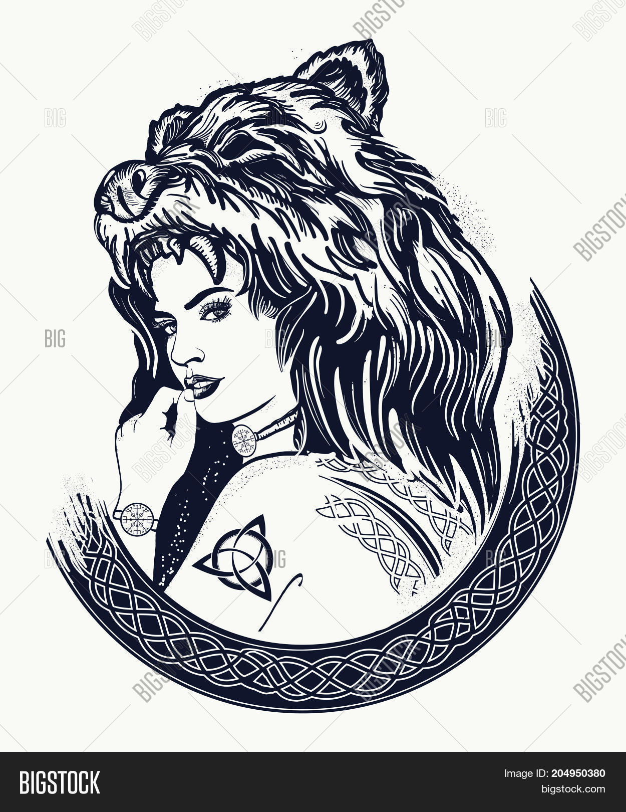 Warrior Woman Tattoo Vector Photo Free Trial Bigstock