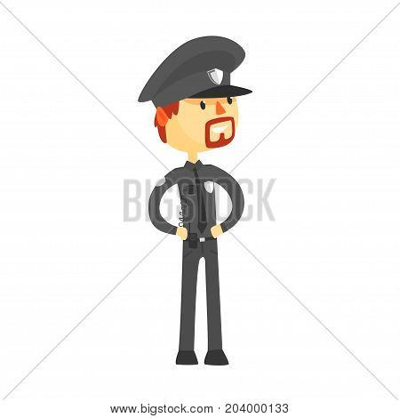 Police officer character wearing uniform cartoon vector Illustration on a white background