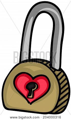 Scalable vectorial image representing a padlock with heart, isolated on white.