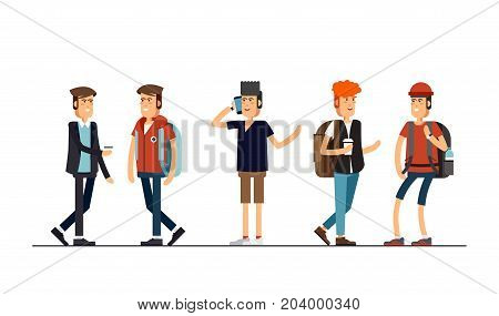 Flat illustratuion set of guys. Male students. Young and stylish boy. Hipster students. Trendy youth. Beautiful young people. Friends