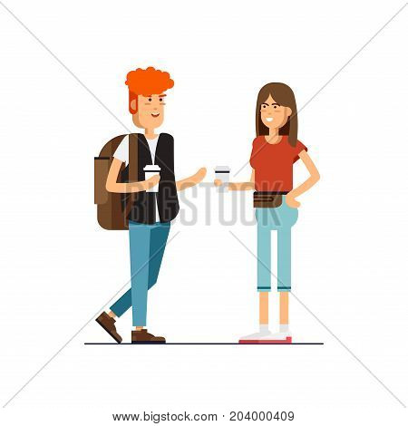 Vector flat illustration of young couple talking and drink coffee.Brown-haired woman and ginger handsome man character. Hipster character