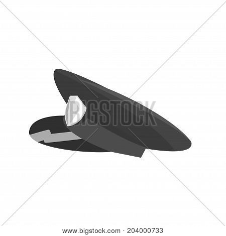 Police cap with cockade, side view cartoon vector Illustration on a white background