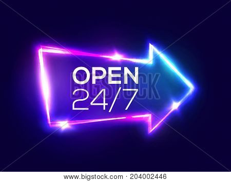 Open 24 7 Hours. Night Club Neon Sign. 3d Retro Light Bar Arrow Pointer With Neon Effect. Techno Frame On Dark Blue Backdrop. Electric Street Banner Design. Colorful Vector Illustration in 80s Style.