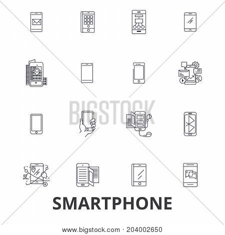 Smartphone, iphone, tablet, mobile phone, ipad, laptop, mobile, apps, cell, call line icons. Editable strokes. Flat design vector illustration symbol concept. Linear signs isolated on white background