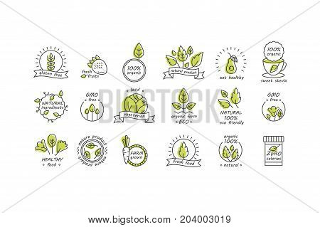 Vector set of organic products labels and badges - collection of different icons and illustrations related to fresh and healthy food -natural, vegan, organic and raw symbols