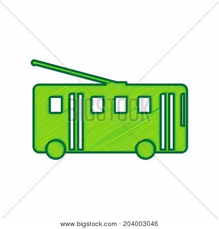 Trolleybus sign. Vector. Lemon scribble icon on white background. Isolated