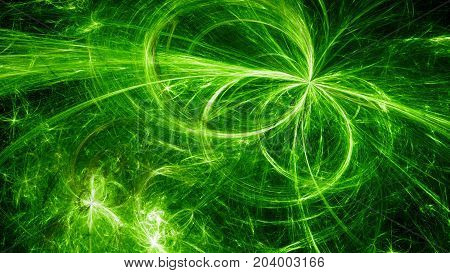 Green glowing electromagnetic plasma fields in space computer generated abstract background 3D rendering