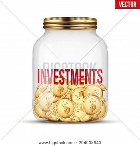 Saving money coin in jar with Investments label. Symbol of keeping money. Vector Illustration isolated on white background.