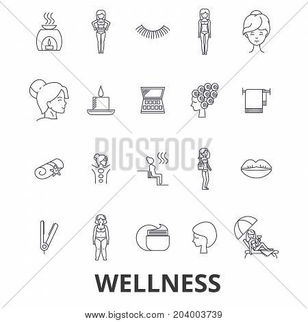 Wellness, health, water well, spa, fitness, massage, beauty, wellbeing, gym line icons. Editable strokes. Flat design vector illustration symbol concept. Linear signs isolated on white background