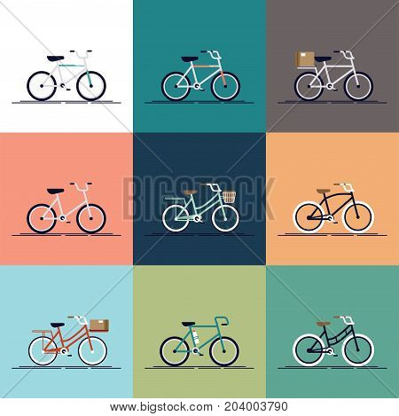 Vector flat modern urban, town and city bicycles set. Various different bicycles with wooden crates, travel and touring bicycle, pink bicycle, white tires, carbon wheels and more