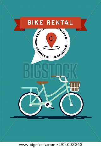 Cool vector poster or banner template on city bike hire rental tours for tourists and city visitors. Travel and tourism concept background with bicycle and location pin