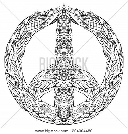 Sign of peace with a boho pattern. Vector doodle illustration for printing on T-shirts postcards stickers and your creativity. Coloring for Adult