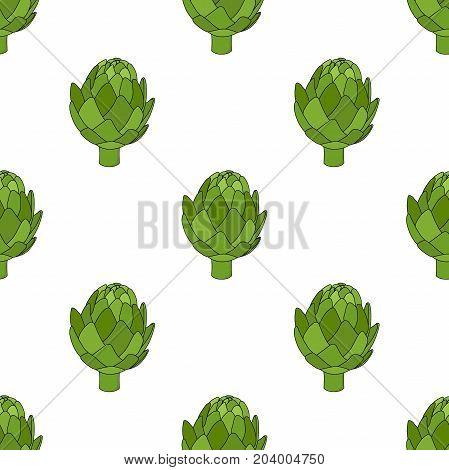 Healthy artichoke seamless pattern, organic farm product. Green vegetable, made in cartoon flat style. Vector illustration