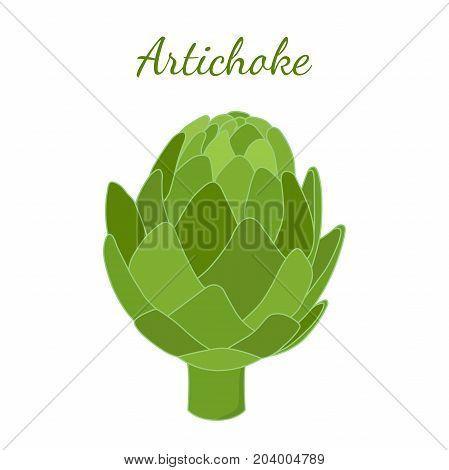 Healthy artichoke, organic farm product. Green vegetable, made in cartoon flat style. Vector illustration