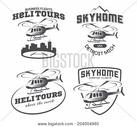 Set of helicopter logo badges and emblems isolated on white background. Vector illustration of a helicopter takes off from the ground.