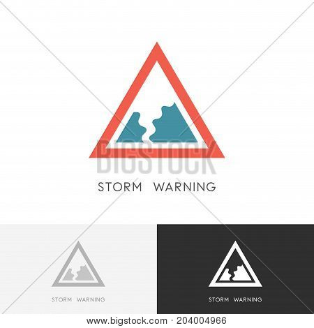 Storm warning logo - hurricane, tornado or twister safety sign. Natural disaster and bad weather vector icon.