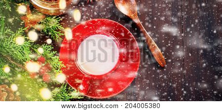 Fir   Bumps Cones, Cocoa In Red Cup  On The Dark Wooden Background