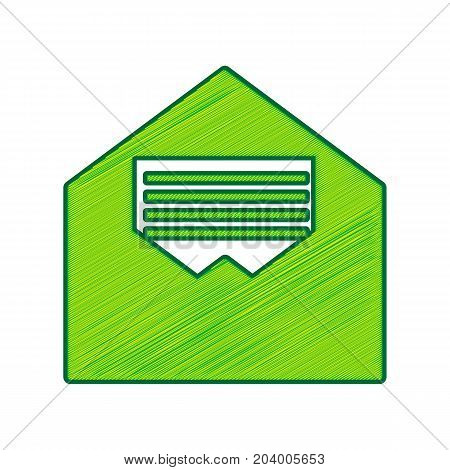 Letter in an envelope sign illustration. Vector. Lemon scribble icon on white background. Isolated
