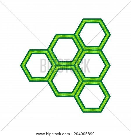 Honeycomb sign. Vector. Lemon scribble icon on white background. Isolated