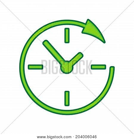 Service and support for customers around the clock and 24 hours. Vector. Lemon scribble icon on white background. Isolated