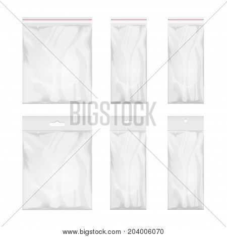 Blank transparent plastic bag template. Set of White packaging with hang slot. Mockup Vector illustration for your design