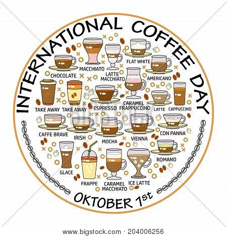 International coffee day. Set of beverage icons. Decoration for coffee shop, coffee house, bar and restaurant.