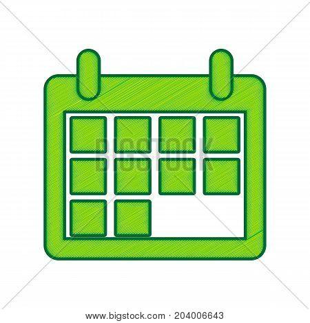 Calendar sign illustration. Vector. Lemon scribble icon on white background. Isolated