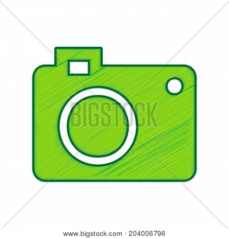 Digital camera sign. Vector. Lemon scribble icon on white background. Isolated