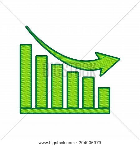 Declining graph sign. Vector. Lemon scribble icon on white background. Isolated