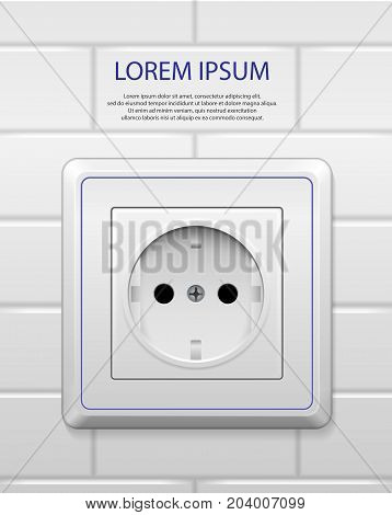 White power socket with shadow isolated. Realistic socket of european standard with blue line on white brick wall. vector illustration EPS 10