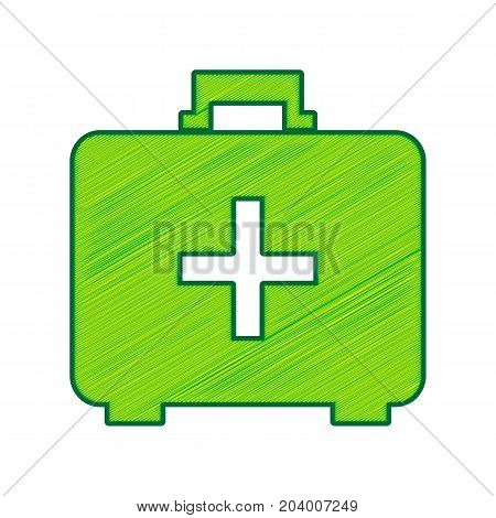 Medical First aid box sign. Vector. Lemon scribble icon on white background. Isolated