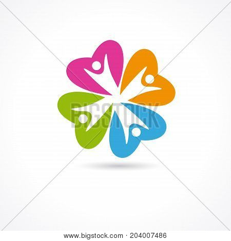 Heart Care colored clover flower logo. Heart Care abstract vector symbol for medical family clinic, social community, fitness and charity foundation