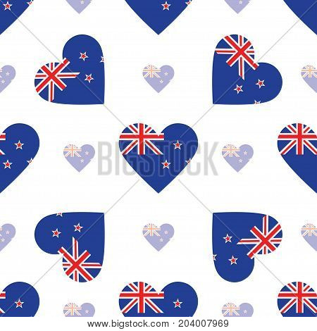 New Zealand Flag Heart Seamless Pattern. Patriotic New Zealand Flag Background. Country Flag In The