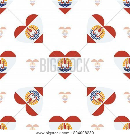 French Polynesia Flag Patriotic Seamless Pattern. National Flag In The Shape Of Heart. Vector Illust