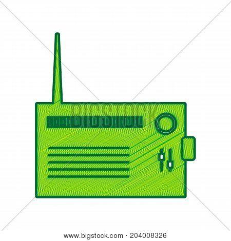 Radio sign illustration. Vector. Lemon scribble icon on white background. Isolated