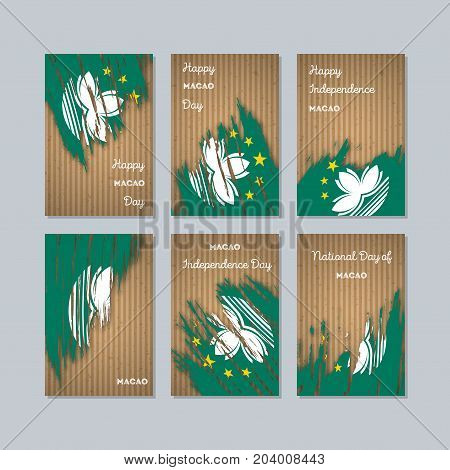 Macao Patriotic Cards For National Day. Expressive Brush Stroke In National Flag Colors On Kraft Pap