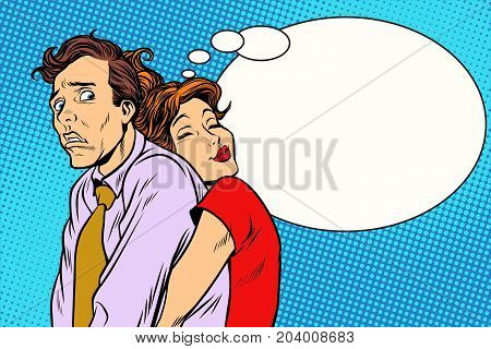 Couple loving wife and confused husband. Romantic relationship men and women. Pop art retro vector illustration