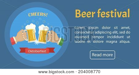 Concept of Beer Festival. Two man holds in his hands a mugs of beer. Oktoberfest banner. Vector image for web, poster, invitation to party - time to drink. Flat vector illustration.