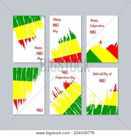 Mali Patriotic Cards For National Day. Expressive Brush Stroke In National Flag Colors On White Card