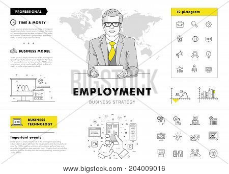 Business employment big Modern set layouts. Thin icons of manage. Team work strategy. Original pack with linear pictogram collection. Professional model coaching..Smart office element for web design.
