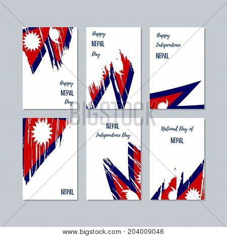 Nepal Patriotic Cards For National Day. Expressive Brush Stroke In National Flag Colors On White Car