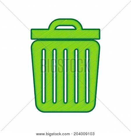 Trash sign illustration. Vector. Lemon scribble icon on white background. Isolated
