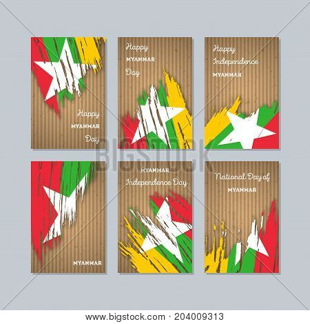 Myanmar Patriotic Cards For National Day. Expressive Brush Stroke In National Flag Colors On Kraft P