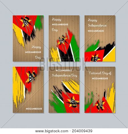 Mozambique Patriotic Cards For National Day. Expressive Brush Stroke In National Flag Colors On Kraf
