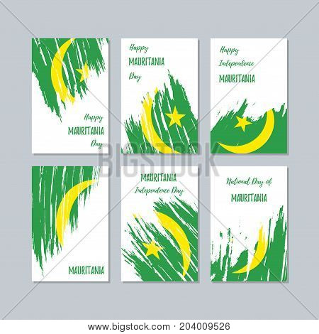 Mauritania Patriotic Cards For National Day. Expressive Brush Stroke In National Flag Colors On Whit