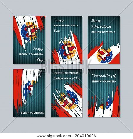 French Polynesia Patriotic Cards For National Day. Expressive Brush Stroke In National Flag Colors O