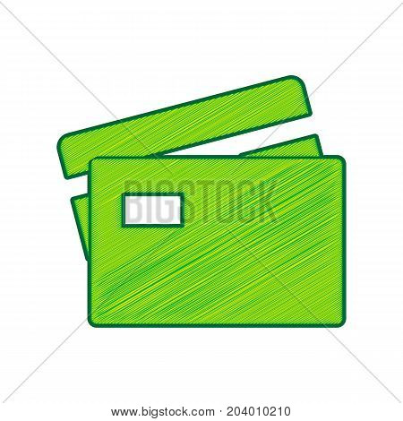 Credit Card sign. Vector. Lemon scribble icon on white background. Isolated