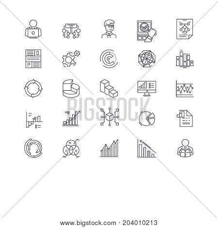 Big data management, analytics, cloud computing, database, business intelligence line icons. Editable strokes. Flat design vector illustration symbol concept. Linear signs isolated on white background